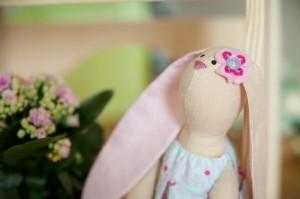 Розовый пасхальный зайчик - кукла ручной работы